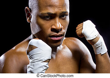 Fit African American Fighter - black mma fighter or boxer...