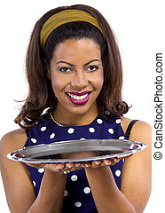 Close Up with Empty Tray For Composites - young black female...