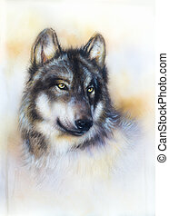 Wolf painting on canvas , color background on paper ,...