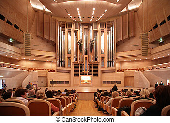 Before concert of organ music in International House of Music. Moscow, Russia.  Concert hall with organ