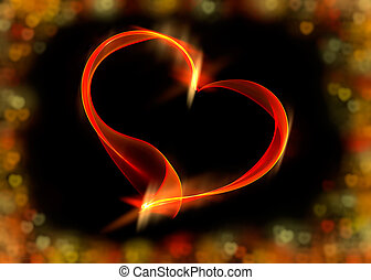 Red ribbon heart with colorful bokeh lights, illustration -...