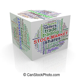 3d cube word tags wordcloud of stock market