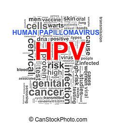 hpv human papillomavirus word tags - Illustration of...