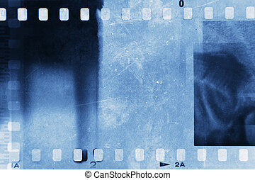 Film strips - Film negative frames, blue tone