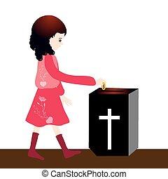 Offering - Girl Offering -Offertory box in church