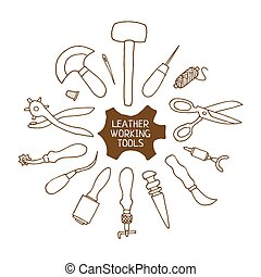 Hand drawn Leather working tools vector illustration - Hand...