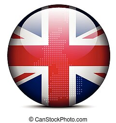 Map with Dot Pattern on flag button - United Kingdom of Great Britain and Northern Ireland