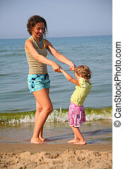 mother with little girl on beach holding hands
