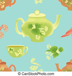 Seamless composition with inflorescence of linden ,teapot...