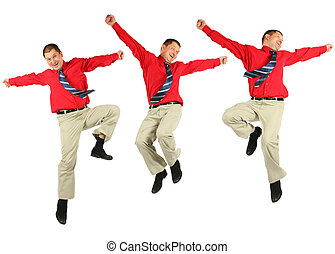 Contented dynamic jumping businessman in red shirt jumps