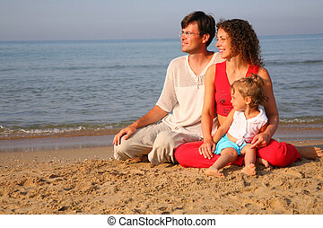 Parents with child sitting on sand on seashore