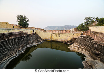 Large reservoir at Nahargarh Fort in Jaipur, Rajasthan,...