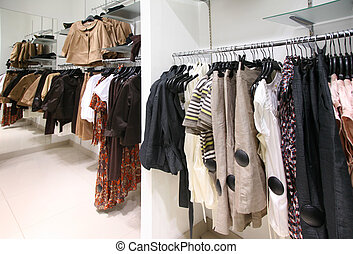 Clothes on rack in mall