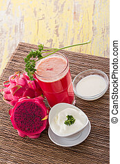 Red Dragon fruit Smoothie - A potrait of a glass Red Dragon...