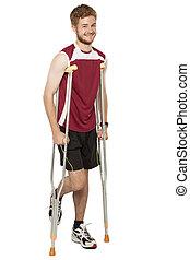 Young man get injury