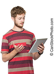 young man working with a modern tablet pc isolated