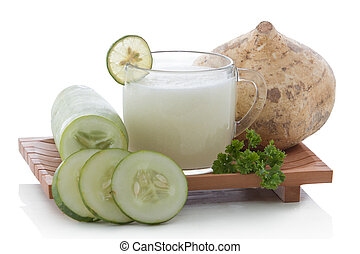 Cucumber and yam smoothie - A potrait of a glass cucumber...