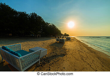 Wild beach - Tropical sea beach, chairs for relaxation. Gili...