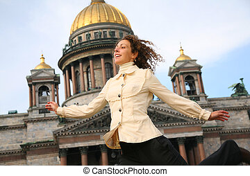 Girl against the Isaakievsky cathedral