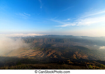 Batur - View in Volley from Agung Batur - active volcano in...