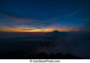 Batur - Cloud view from active volcano Mount Gunung Batur at...