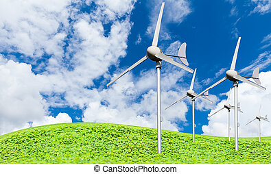 Eco power, wind turbines generating electricity against...