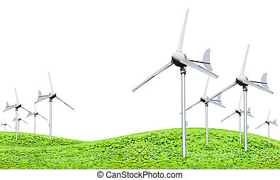 Eco power, wind turbines generating electricity, green earth...