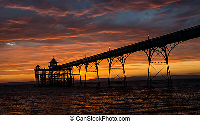 Clevedon Pier at sunset - A sunset photo of Clevedon Pier...
