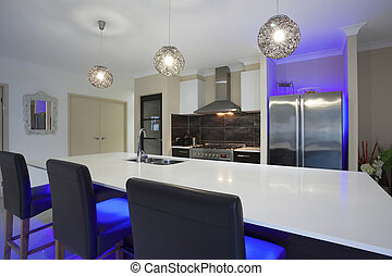 Led lit kitchen - LED lit kitchen and dining table in modern...