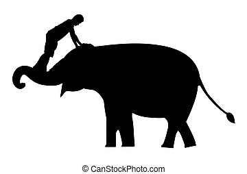 elephants silhouettes - elephants and mahout silhouettes on...