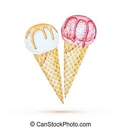 ice cream - Ice cream in a waffle cone. Watercolor...
