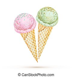 ice cream - Ice cream in a waffle cone. Watercolor...