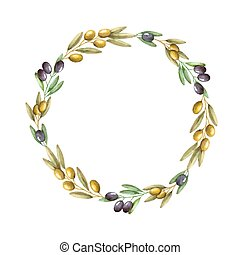 Watercolor olive branch wreath. Hand drawn natural vector...