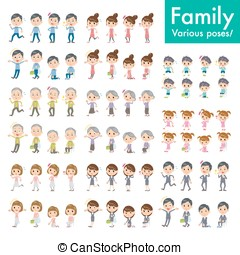 family set Pose with motion - Set of the various poses of...
