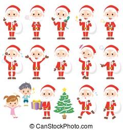 Santaclaus Pause - Set of various poses of Santa claus.