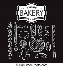 France bakery collection black and white