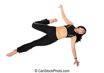 Sport woman in black makes exercise
