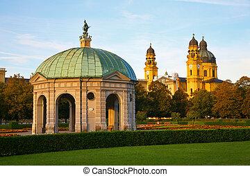 piedra, pabellón, Munich, alemania