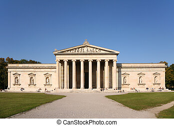 Facade of house with columns. Glyptothek. Munich
