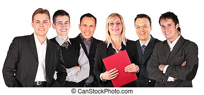smiling faces business people group