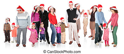 many christmas family with children group isolated