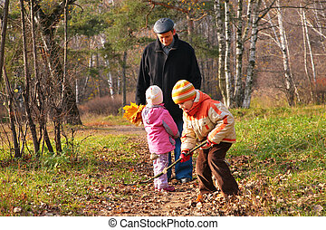 otoño, Nietos, bosque,  grand-dad