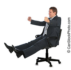 happy driving businessman on chair