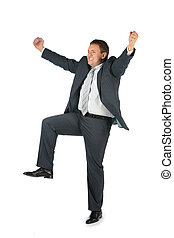 happy businessman with hands and leg up