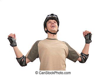 Guy in sports helmet with rised hands