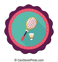 badminton racket and ball flat icon with long shadow,eps10