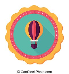 Transportation hot air ballon flat icon with long...