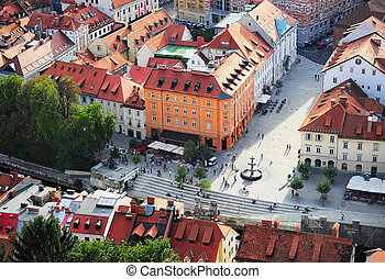 Ljubljana city center, Slovenia - Top view of colorful...