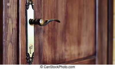 The man opens the door by the handle - The hand is taken by...