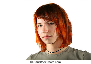 Portrait of young seriuos woman with red hair